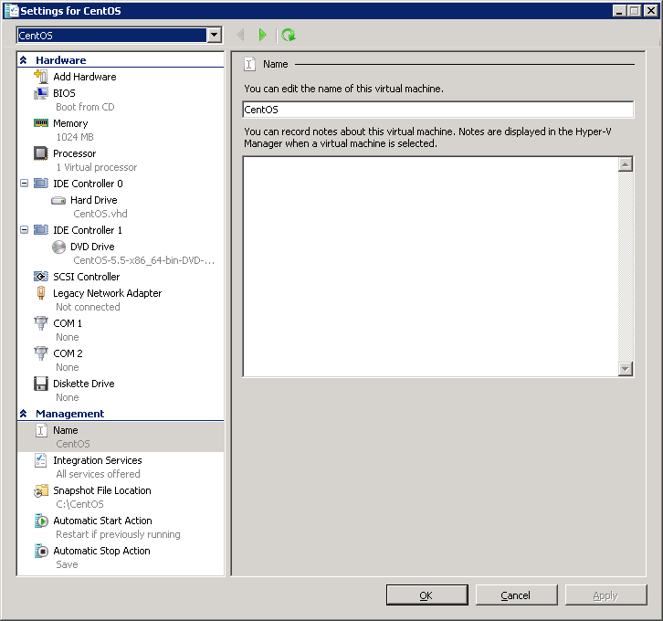 Installing CentOS 5 5 with Linux Integration Services 2 1 on Hyper-V